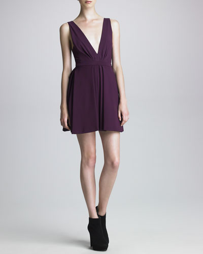 J. Mendel Tech Jersey Plunging-Neckline Dress