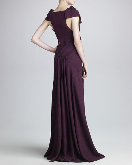 Cloque Gown with Draped Detail