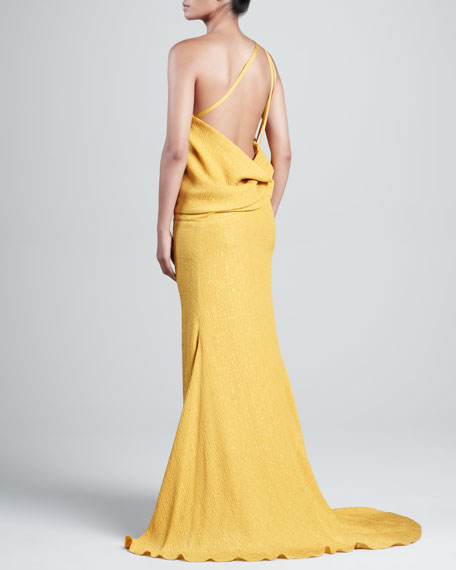 Silk Cloque One-Shoulder Gown