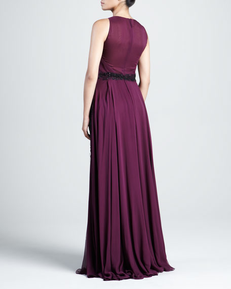 Pleated Georgette Gown with Embellished Panels