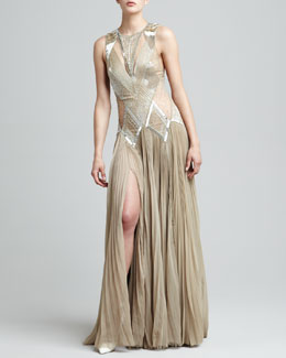J. Mendel Beaded Deco Drop-Waist Gown
