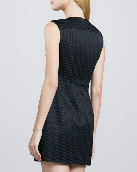 Martian Zip-Shoulder Check Dress