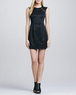 Nanette Lepore Martian Zip-Shoulder Check Dress