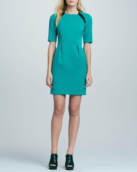 Moonstone Leather-Inset Dress, Mars Green