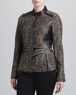 J. Mendel Tweed Leather-Trim Jacket