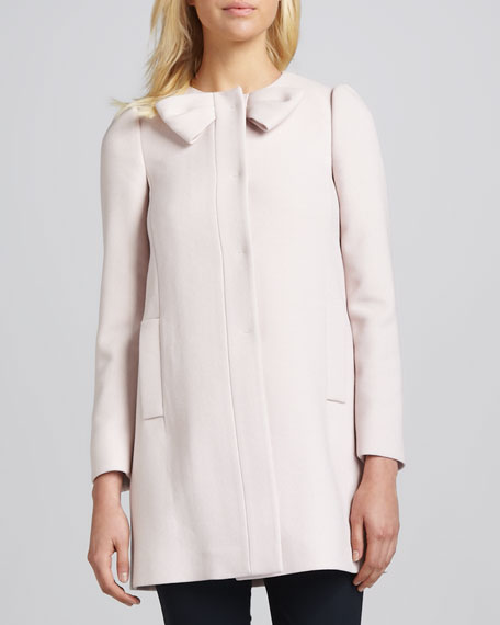 Bow-Neck Covered-Button Jacket, Pale Rose