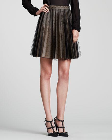 Pleated Swiss Dot Tulle Skirt, Black