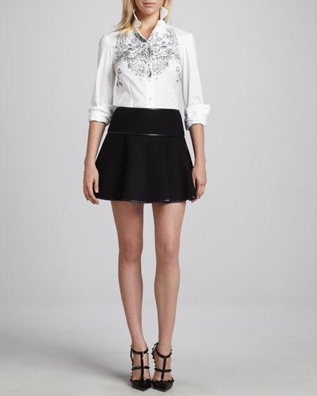 Flared High-Waist Skirt, Black