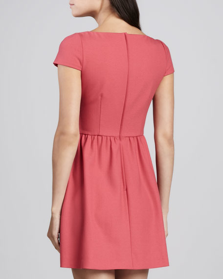 Scoop-Neck Bow Dress, Begonia Pink