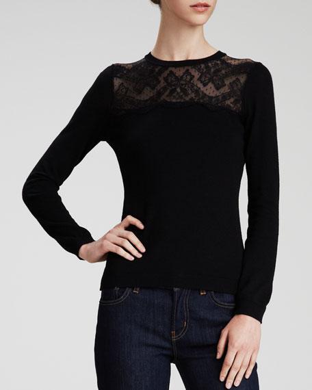 Lace-Yoke Wool Sweater, Black