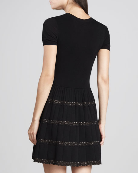 Lace-Ribbon Merino Wool Dress, Black