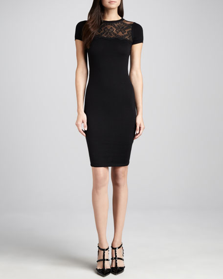 DRESS SS SHEATH W LACE YOKE