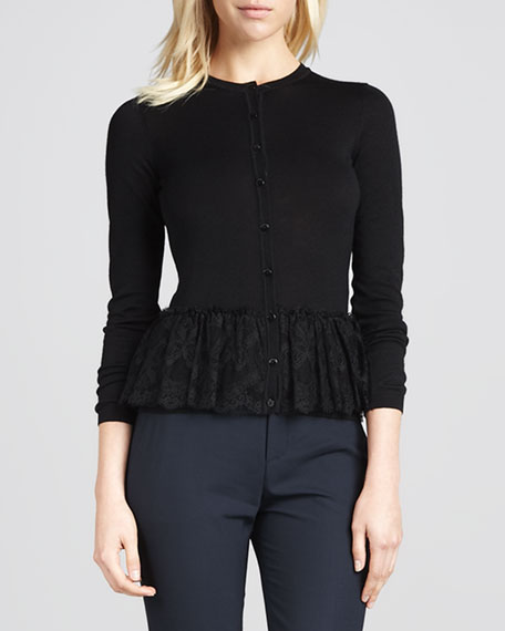 Lace-Peplum Cardigan, Black