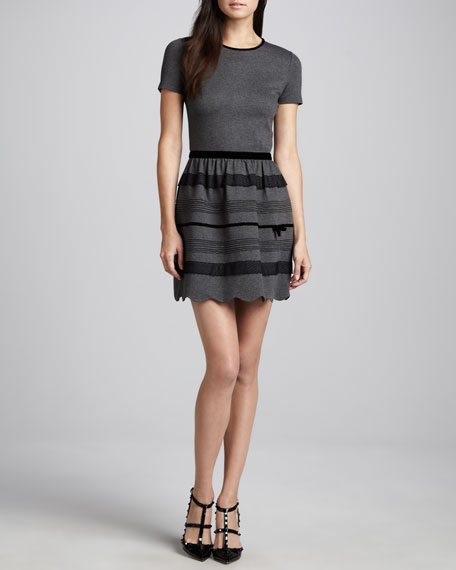 Velvet-Trim Short-Sleeve Knit Dress, Gray