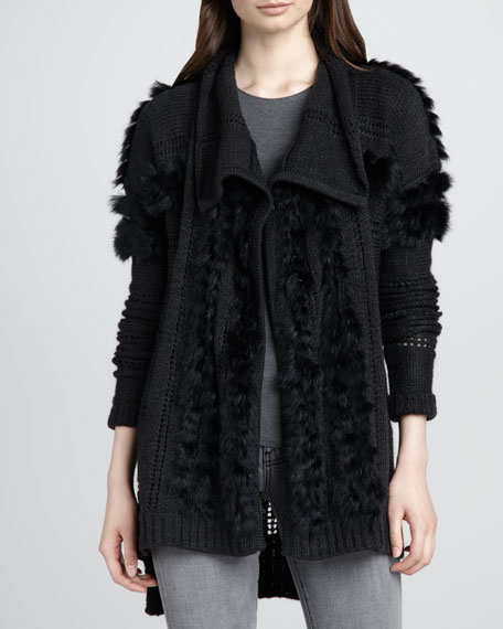 Fur-Trim Knit Cardigan