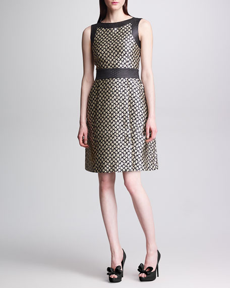 Sleeveless Floral Brocade Dress, Black/Cream