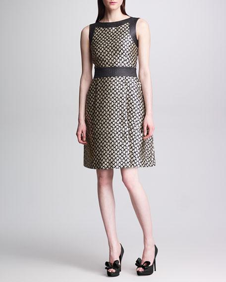 Sleeveless Floral Brocade Dress, Black/Cream