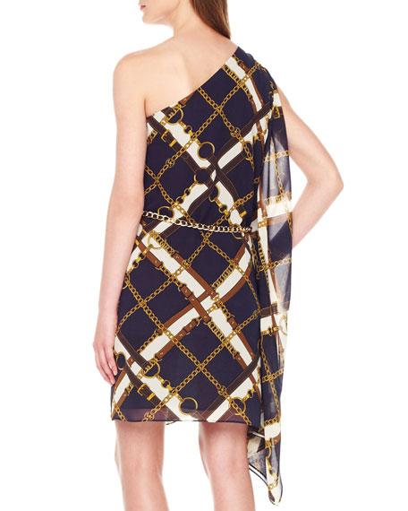 One-Shoulder Chain-Print Dress