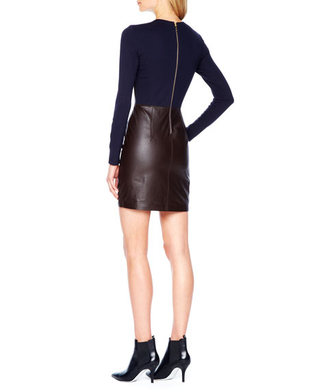 Knit-Sleeve Leather Dress