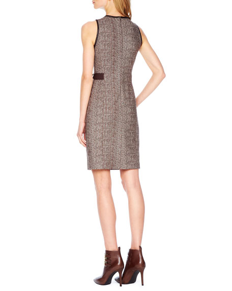 Herringbone Belted Zip Dress