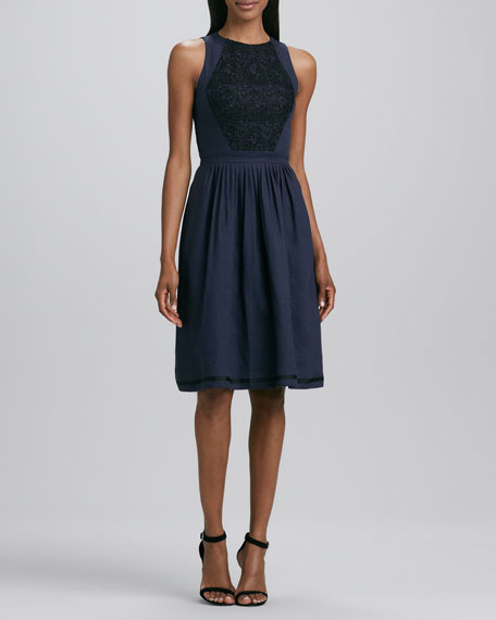 Jewel-Neck Lace-Inset Dress