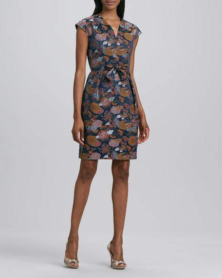 Printed V-Neck Front-Tie Dress