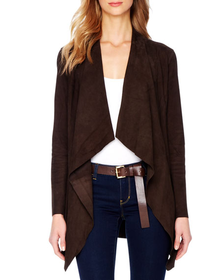 Draped Open Suede Jacket