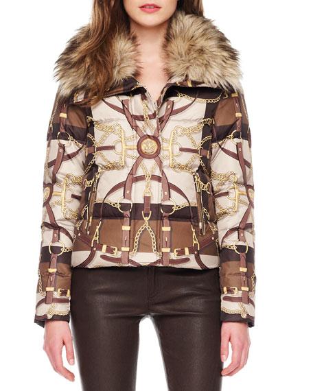 Equestrian-Print Puffer Jacket
