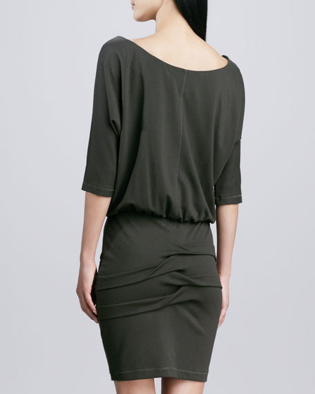 3/4-Sleeve Ponte Blouson Dress