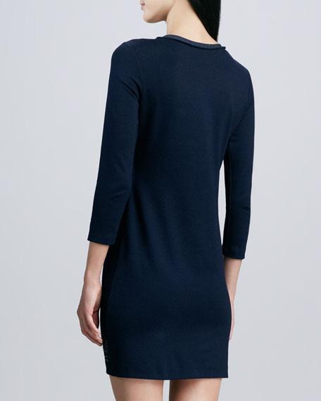 Three-Quarter Sleeve Studded Dress