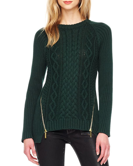 MICHAEL Michael Kors Zip-Slit Cable Sweater