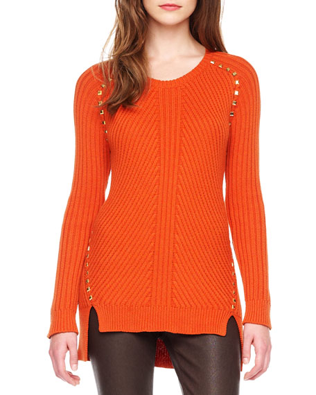 Stud-Trim Ribbed Sweater