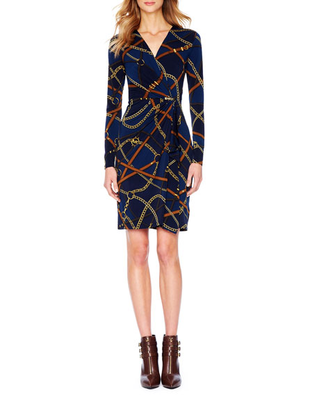 Belt-Print Wrap Dress, Women's