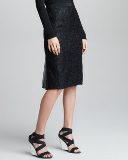 Donna Karan Chiffon Metallic Tweed Skirt