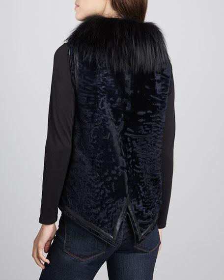 Fur Vest with Leather-Trim