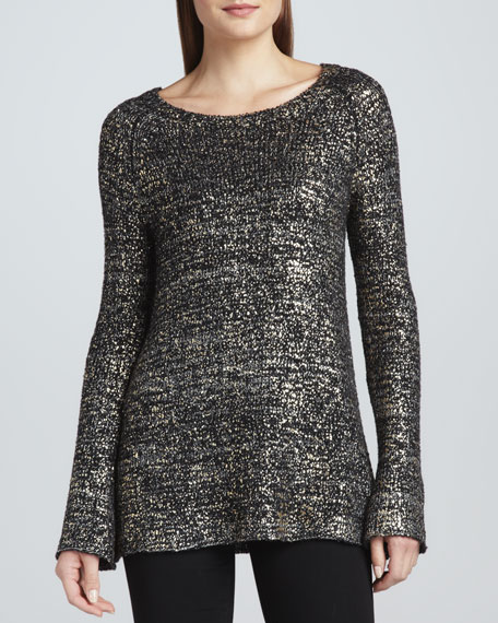 Gold Foil Long-Sleeve Sweater
