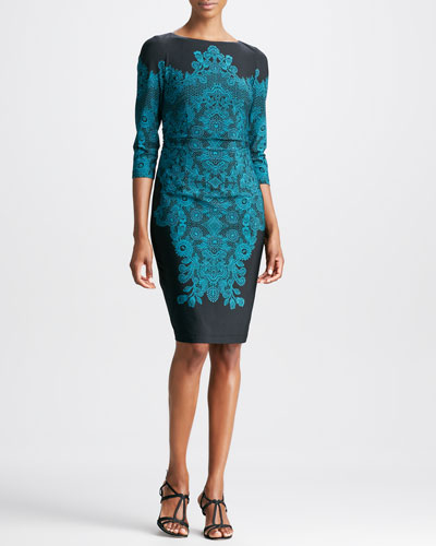 David Meister Lace-Print 3/4-Sleeve Jersey Dress