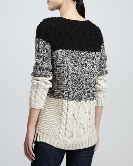 Striped Cable-Knit Sweater