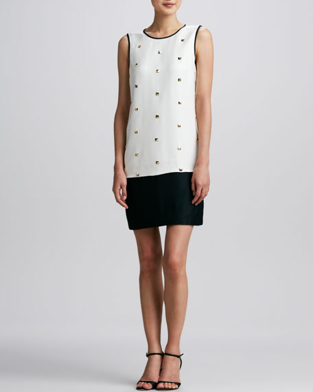 rosita studded colorblock dress