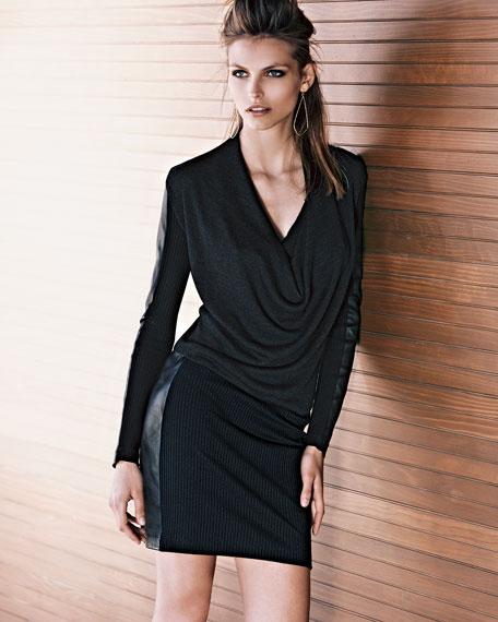 Leather-Paneled Ribbed-Knit Dress