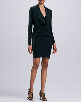 Nicole Miller Artelier Leather-Paneled Ribbed-Knit Dress