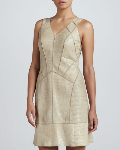 J. Mendel V-Neck Alligator Dress