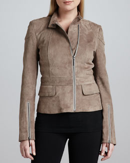 Jo Peters Suede Mandarin-Collar Jacket