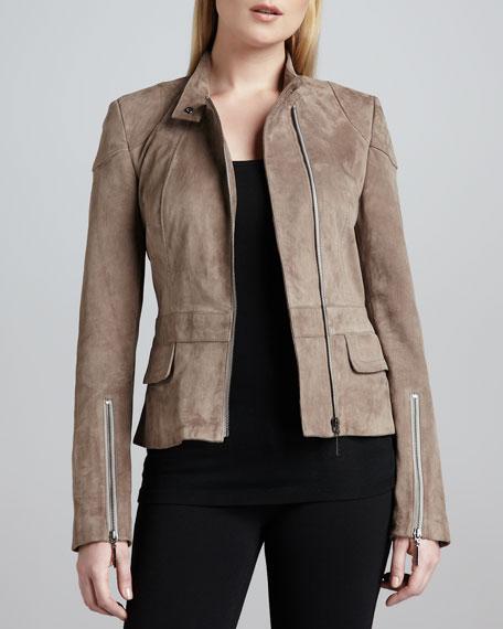 Suede Mandarin-Collar Jacket