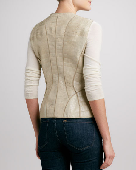 Paneled Alligator Zip-Front Vest