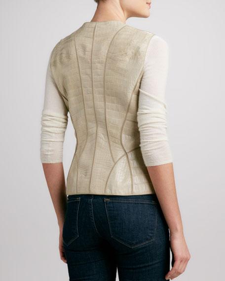 Paneled Alligator Zip-Front Vest