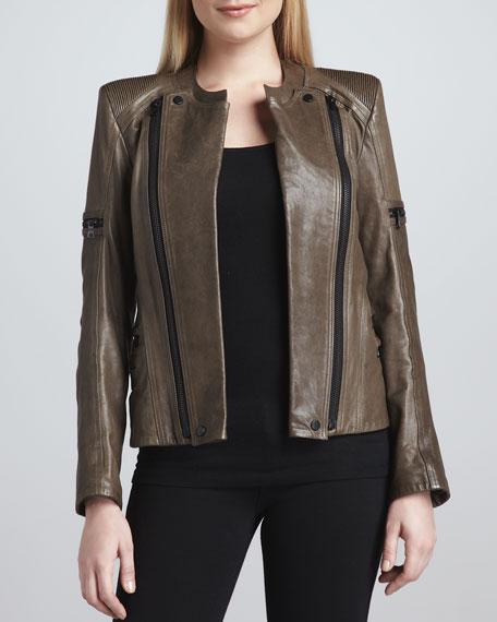 Leather Moto Zipper Jacket