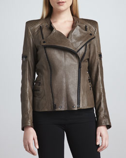 Jo Peters Leather Moto Zipper Jacket