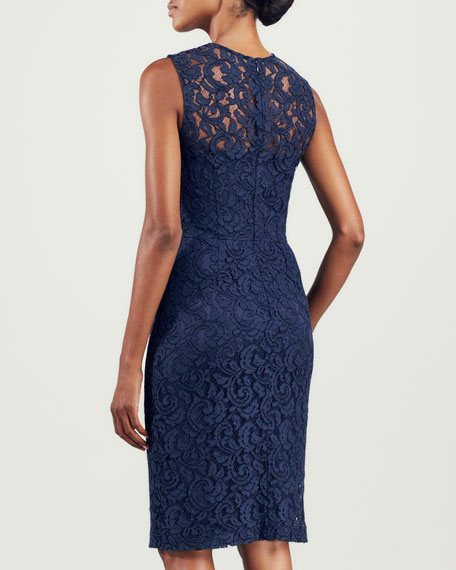 Sleeveless Lace Sheath Dress, Navy