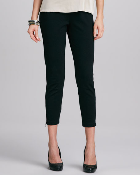 Zip-Cuff Slim Rayon Ankle Pants
